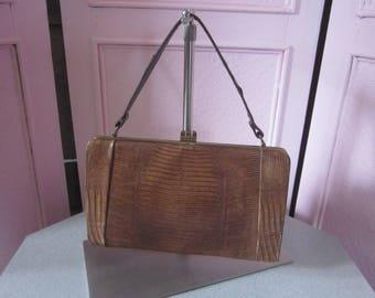 1950s Tan Lizard Handbag