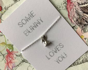 Some Bunny Loves You necklace with backing card, bunny head charm, hand made gift, valentines gift, peekaboo bunny