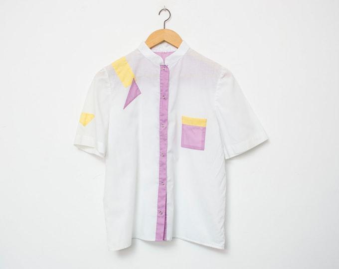 80's White blouse NOS Vintage Size S