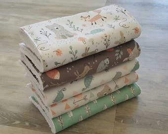 Baby Burp Cloths. Handmade Pack of 5. Lovely Gift! Woodland, Bears & Foxes.
