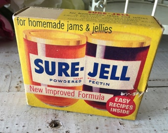 Vintage Sure-jell Unopened Box Retro Kitchen Americana Vintage Advertisement Antique Supply Jelly Jar Image 1950s Canning Powdered Pectin