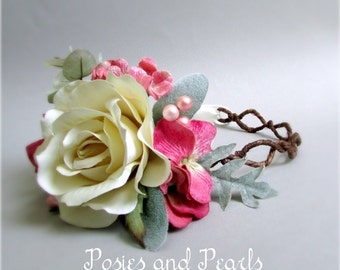 "Rose Pink, Green, and Ivory Floral Hair Crown, Rose, Hydrangea, Berries, Grapevine Head Wreath, Silk Flower Bridal Crown, ""Roselle"""
