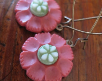 """RESERVED NARELLE - Vintage Button """"Flirty Fresh"""" Dangle Earrings in Green and Pink"""