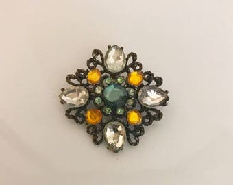 Vintage multi rhinestone brooch pin mid century fashion jewelry 1950s