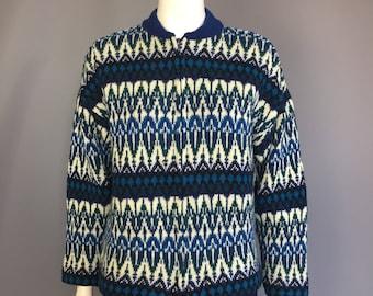 Zip front cardigan 1950s 1960s Scandinavian