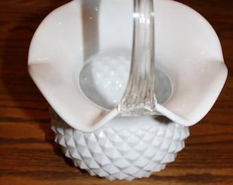 Hobnail white milk glass basket