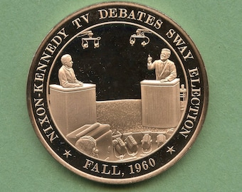 Franklin Mint Medal History Of United States Series: Nixon-Kennedy TV Debates Sway Election 1960, 44 mm Bronze Mint Condition<>#PSY-439