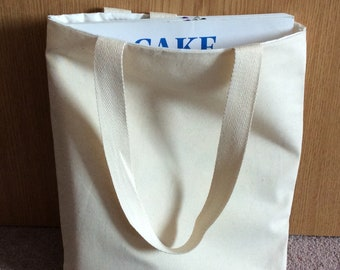 Small Calico boxed bottom plain book/tote/party bags