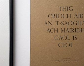 Letterpress Wall Art - Gaelic Art Print - Scottish Gaelic Proverb - Kraft