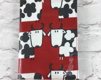 Fun cow Oilcloth A5 book cover