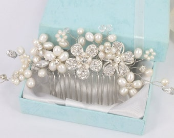 Layla- Freshwater Pearl, Rhinestone Flower and Crystal Bridal