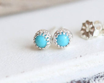 Turquoise Stud Earrings, Sterling Silver Stud Earrings, Birthstone Earrings, Turquoise Studs Silver and Blue Earrings, Gemstone Earrings