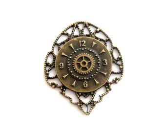 steampunk bronze watch gear 45x35mm watch face charm pendant