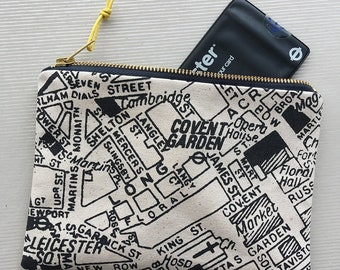 London Map screenprinted cotton large clutch purse