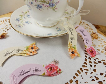 Thank You Tags, Wedding Favours, Floral Tags, Vintage Tea Party Supplies