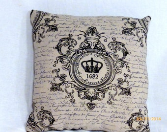 Paris pillow - Crown Pillow - Mothers Day Gift - black and White - Vintage French Pillow - Decorative Throw Pillow