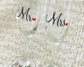 Mr Mrs Champagne Flutes