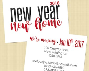 New Address card, We've Moved/Moving card - New Year, New Home - printable file