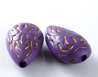 Lavender Gold Etched Acrylic Teardrop Beads