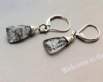 Tourmalated Quartz Earrings, April Birthstone Earrings, sterling silver earrings, lever backs, tourmalated quartz, natural gemstone