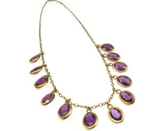 Art Deco Amethyst Glass Drop Necklace - Glass Gems, Gold Filled, Open Back, Chicklet, Purple Necklace, Art Deco Jewelry, February Birthstone