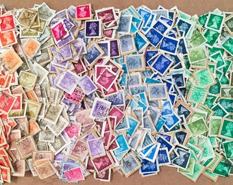 1000 x used rainbow British machin postage stamps - on paper - for collage, stamp collecting, decoupage, stamp art, scrapbooking, crafts