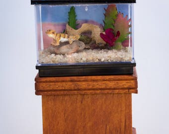 Dollhouse Miniature Large Lizard Reptile Bearded Dragon Tank Terrarium Desert Scene Hand Made OOAK