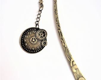 "Time Steampunk Bookmark or page marker ""gears of time"""