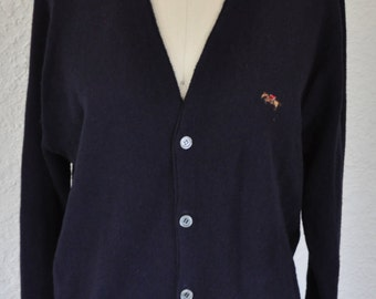 1970s Steeplechase Navy blue button up mens Cardigan . Golf sweater
