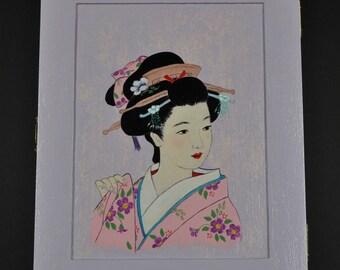 keys acrylic Japanese woman decor hand painted wooden box