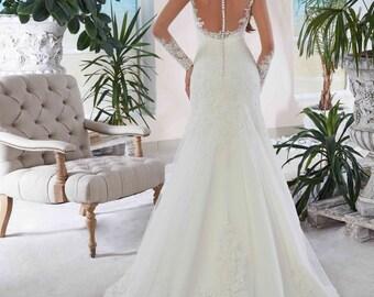 Bridal Lace Wedding Dress - Adina Wedding Stunning Lace Dress - Long Wedding Dress with Train - Cathedral  Elegant Wedding Dress