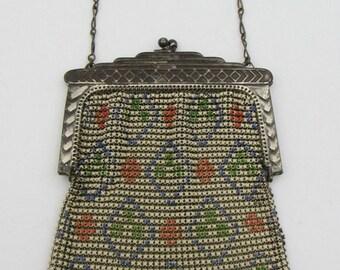 Vintage Whiting & Davis Art Deco Enamel Mesh Purse Enameled Flapper Handbag