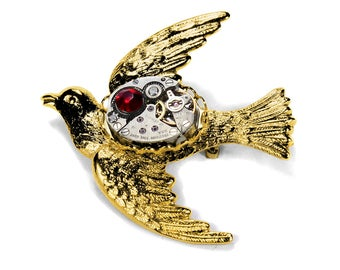 Steampunk Jewelry Pin Womens Brooch Victorian GOLD BIRD Vintage Watch RED Crystal Anniversary Holiday Gift - Jewelry by Steampunk Boutique