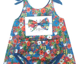 Gorgeous baby girl set dress nappy cover bloomers and headpiece in stylish pink floral blue red yellow print