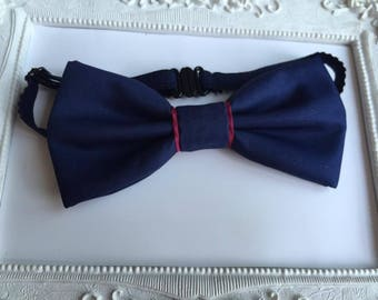 Bow tie Navy Blue and magenta - man