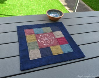 Square Sashiko Table Runner. Japanese table topper. Hand embroidery authentic japanese fabrics. Japanese tablecloth gift. Oriental Fabric UK