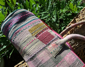 KANTHA YOGA mat carry BAG / handmade vintage patchwork bohemian / Indian repurposed saree boho yogi / pink grey