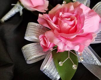 Pink Silver Wrist Corsage with Matching Boutonniere Prom Set Artificial Flowers READY TO SHIP