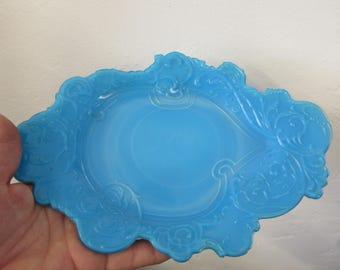 Antique Blue Slag Glass Ornate Tray