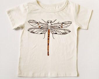 Dragonfly Kids Tee Hand Screen Printed Dark Brown / Orange Dragonfly on Organic Cotton T-Shirt