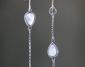 Moonstone earrings in silver bezel setting with silver stick and silver ring on sterling silver hooks style