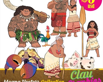 MOANA movie digital collection, SVG patterns and editable files, EPS, illustrator files and png images, Amazing Details and easy to use