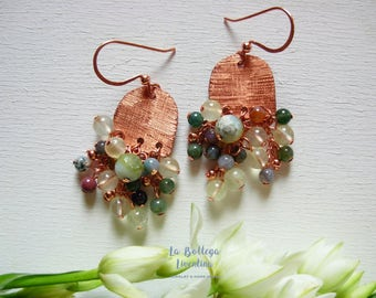 Green gemstone cluster drop earrings ethnic style boho earrings spring