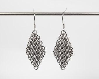 European 4 in 1 Earrings, Chainmaille Earrings, Stainless Steel, Chainmail Earrings, Maille Earrings, Drop Earrings, Dangle Earrings