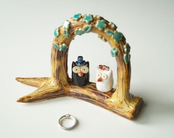 Rustic Wedding Cake Topper, Rustic Wedding, Rustic owl cake topper, ceramic owls