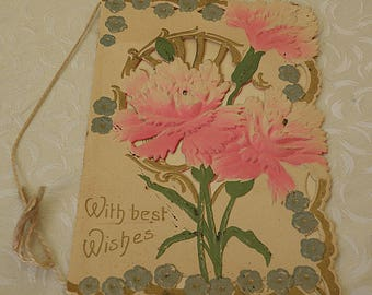 Embossed Christmas Card Pink Carnations