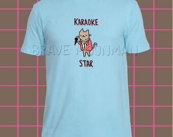 Shirt mit Katze Karaoke Star Katze Shirts lustige Geschenke für Männer schrulligen Kleidung T Shirt Männer Rock'n'Roll T-Shirts mit Sprüchen