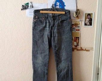 Levi's Black High Waist Jeans Levi's 555 Black Faded Washed Womens W30 L32 M Medium