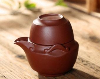 Handmade Potable Yixing Clay Teapot and Tea Cup, Yixing Zisha Pottery Kung Fu Tea Set, A Good Christmas Gift