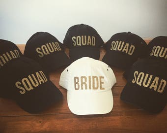 Bride Squad Baseball Caps, Bride Squad Baseball Caps, Black, White, Gold Glitter, Bachelorette Party Hats, Bride Hat